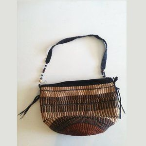 Sisal Bucket Bag w Beaded Strap Detail & Zipper